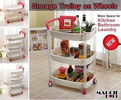Maggiedoll 3 tier plastic trolley on wheel kitchen - Bathroom storage cart with wheels ...